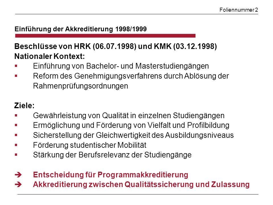 Beschlüsse von HRK (06.07.1998) und KMK (03.12.1998)