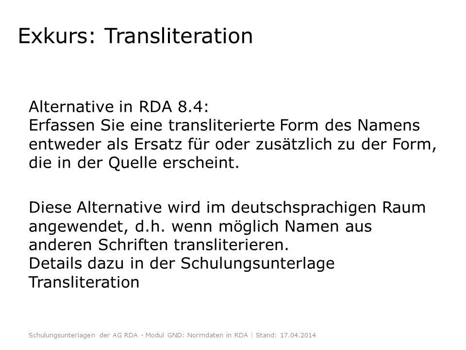 Exkurs: Transliteration