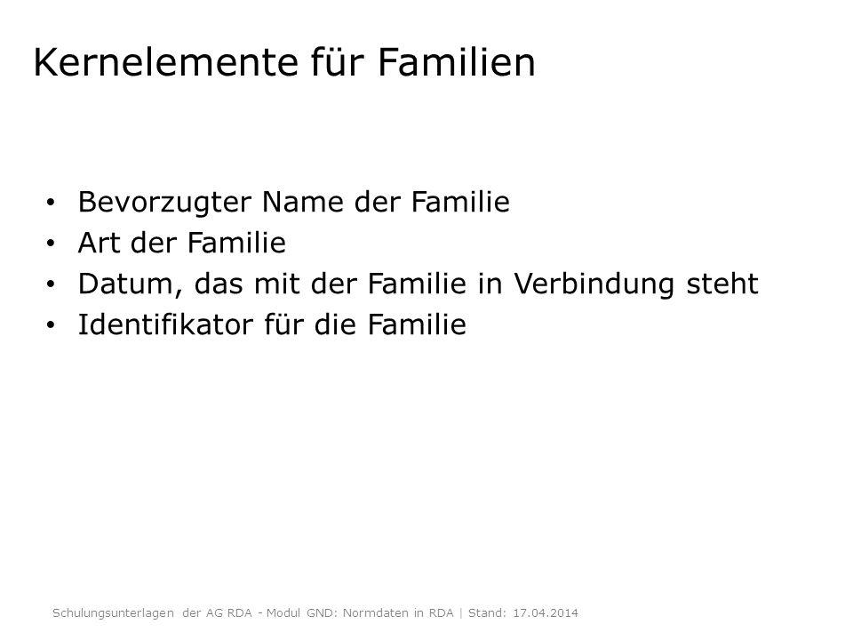 Kernelemente für Familien