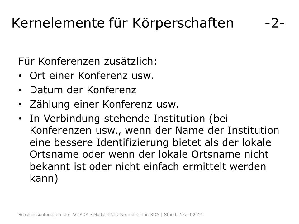Kernelemente für Körperschaften -2-