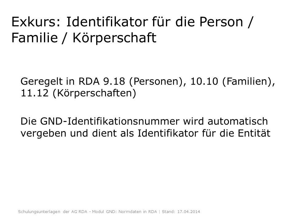 Exkurs: Identifikator für die Person / Familie / Körperschaft