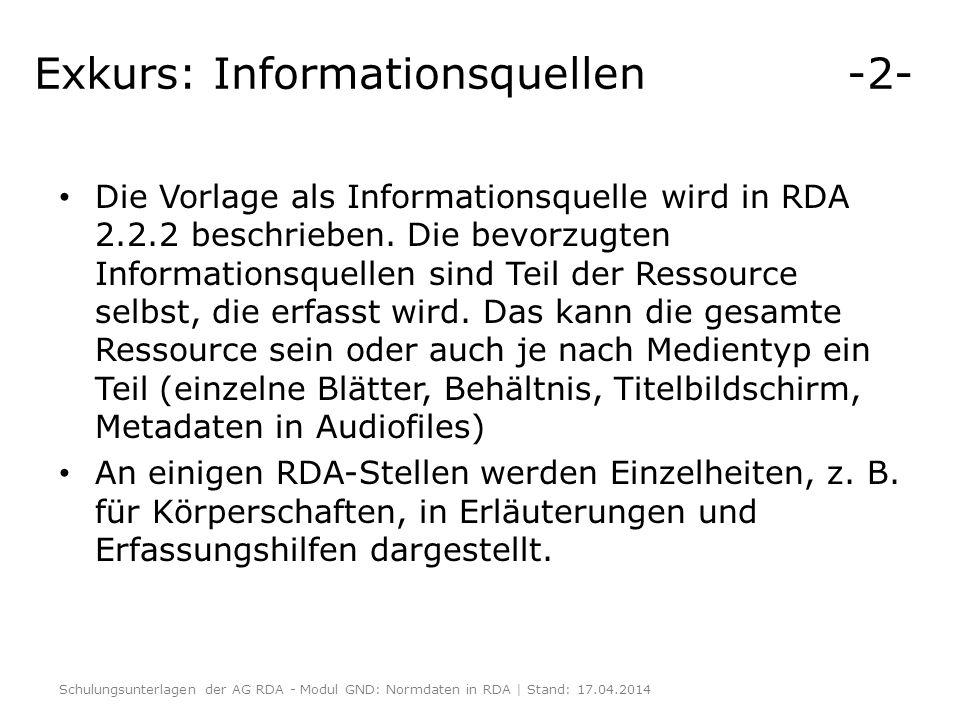 Exkurs: Informationsquellen -2-