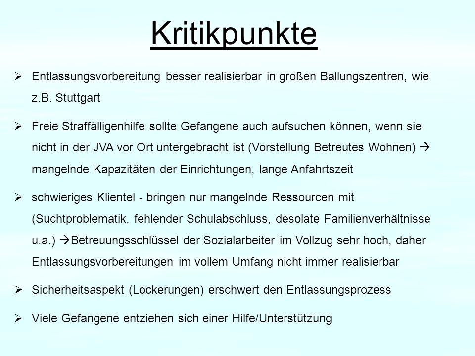 Kritikpunkte Entlassungsvorbereitung besser realisierbar in großen Ballungszentren, wie z.B. Stuttgart.