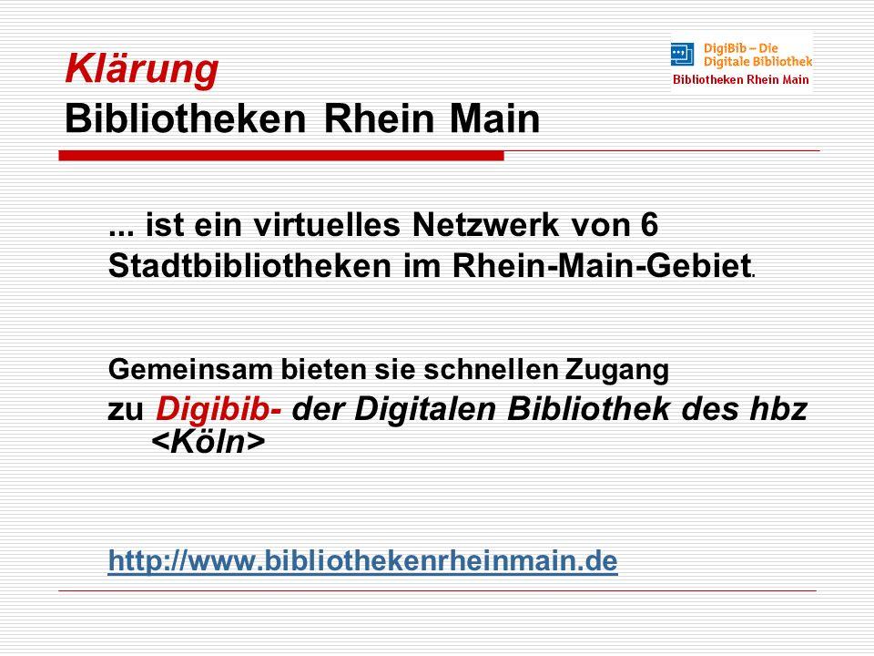 Klärung Bibliotheken Rhein Main