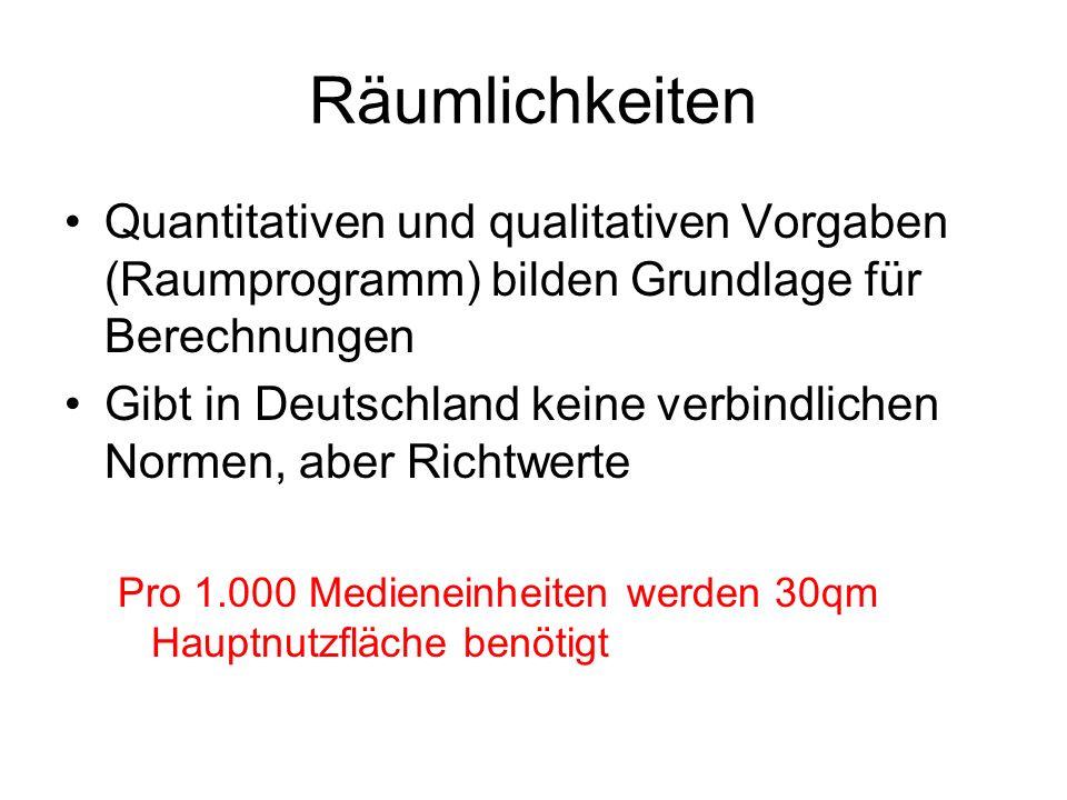 Räumlichkeiten Quantitativen und qualitativen Vorgaben (Raumprogramm) bilden Grundlage für Berechnungen.