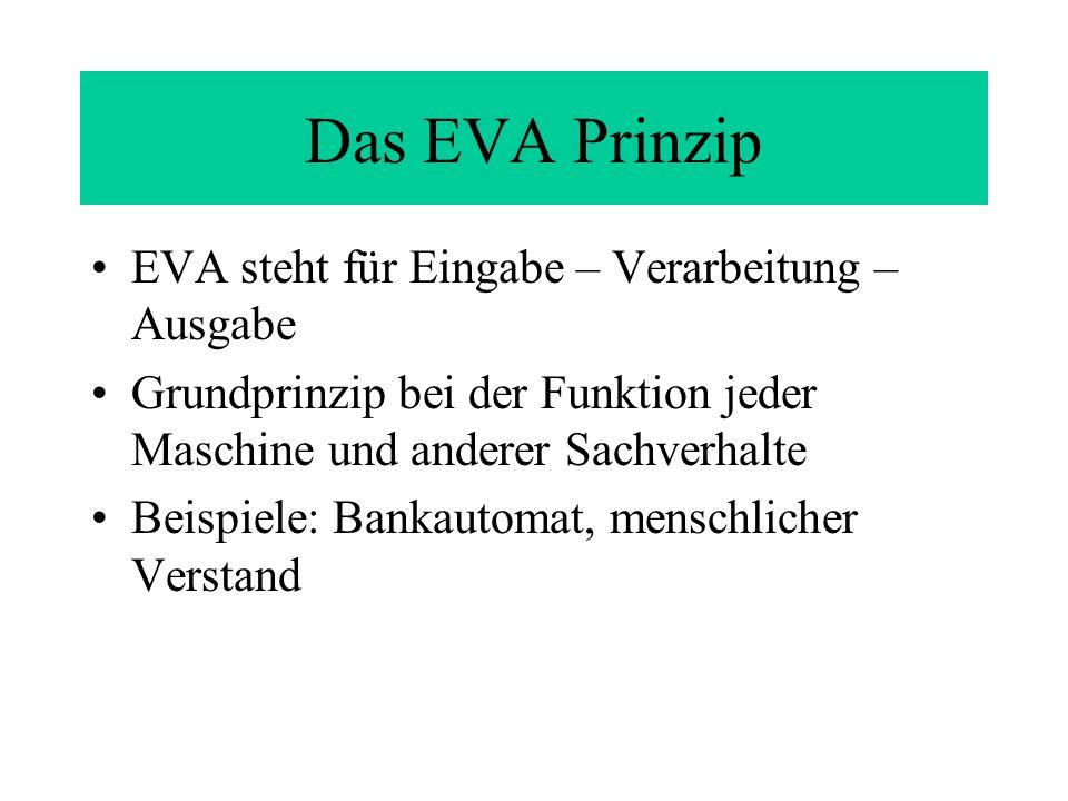 Das EVA Prinzip EVA steht für Eingabe – Verarbeitung – Ausgabe