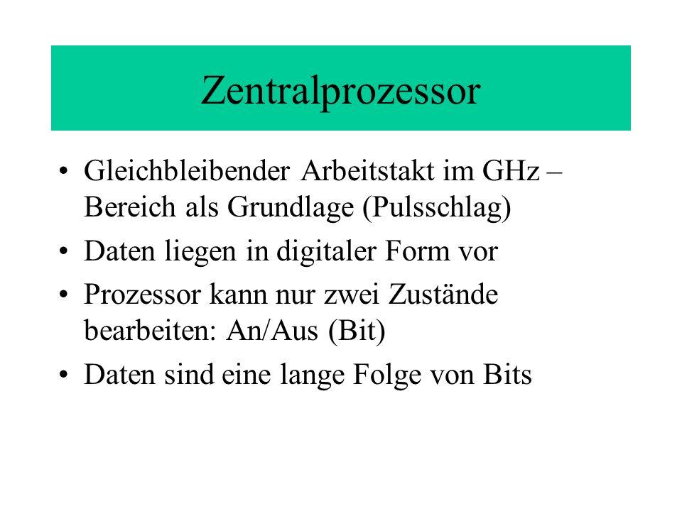 Zentralprozessor Gleichbleibender Arbeitstakt im GHz – Bereich als Grundlage (Pulsschlag) Daten liegen in digitaler Form vor.