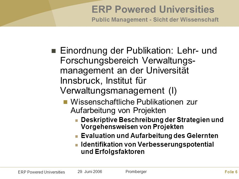 ERP Powered Universities Public Management - Sicht der Wissenschaft