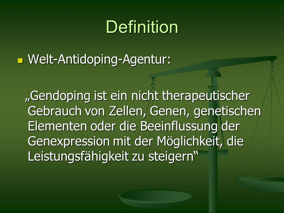 Definition Welt-Antidoping-Agentur: