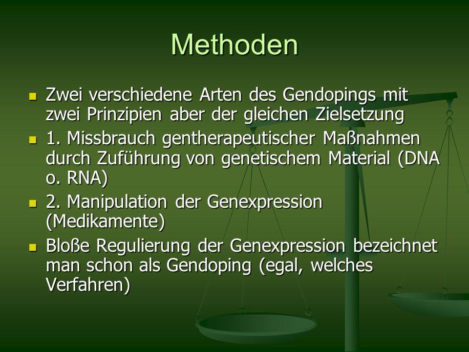 Methoden Zwei verschiedene Arten des Gendopings mit zwei Prinzipien aber der gleichen Zielsetzung.