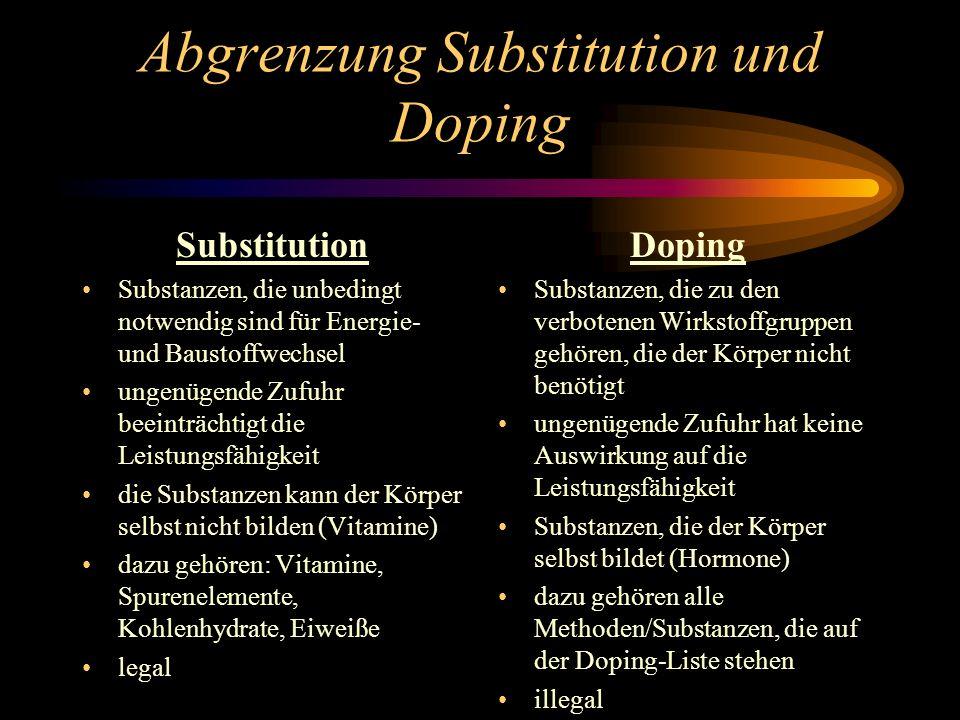 Abgrenzung Substitution und Doping