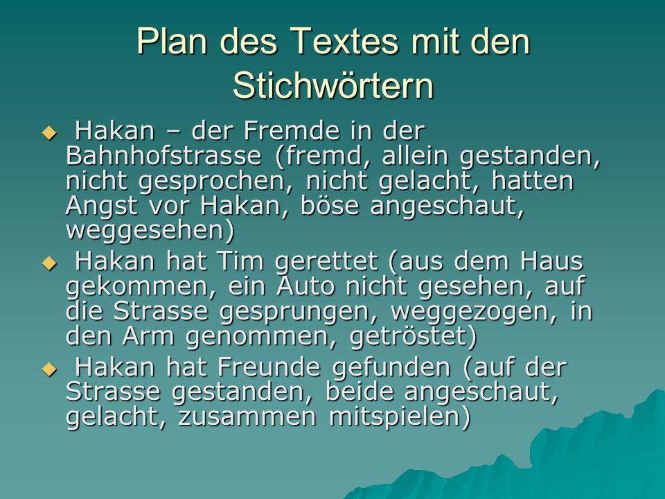 Plan des Textes mit den Stichwörtern
