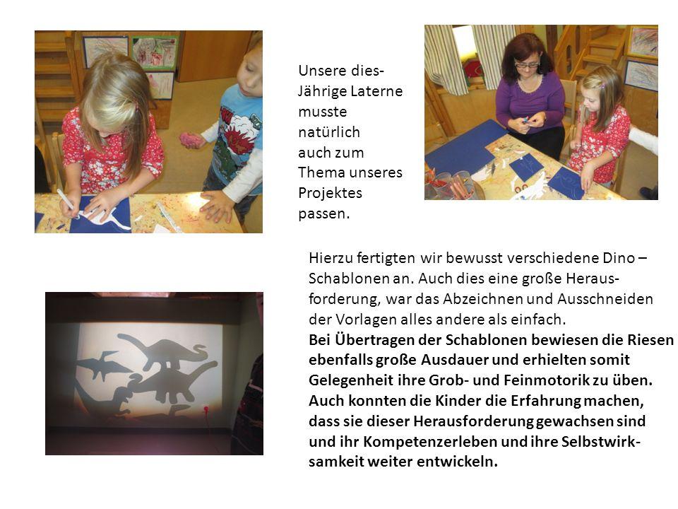 Unsere dies- Jährige Laterne. musste natürlich. auch zum Thema unseres. Projektes. passen. Hierzu fertigten wir bewusst verschiedene Dino –