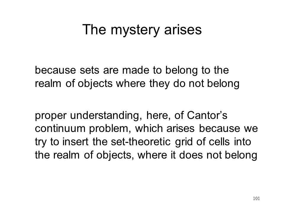 The mystery arises because sets are made to belong to the realm of objects where they do not belong.