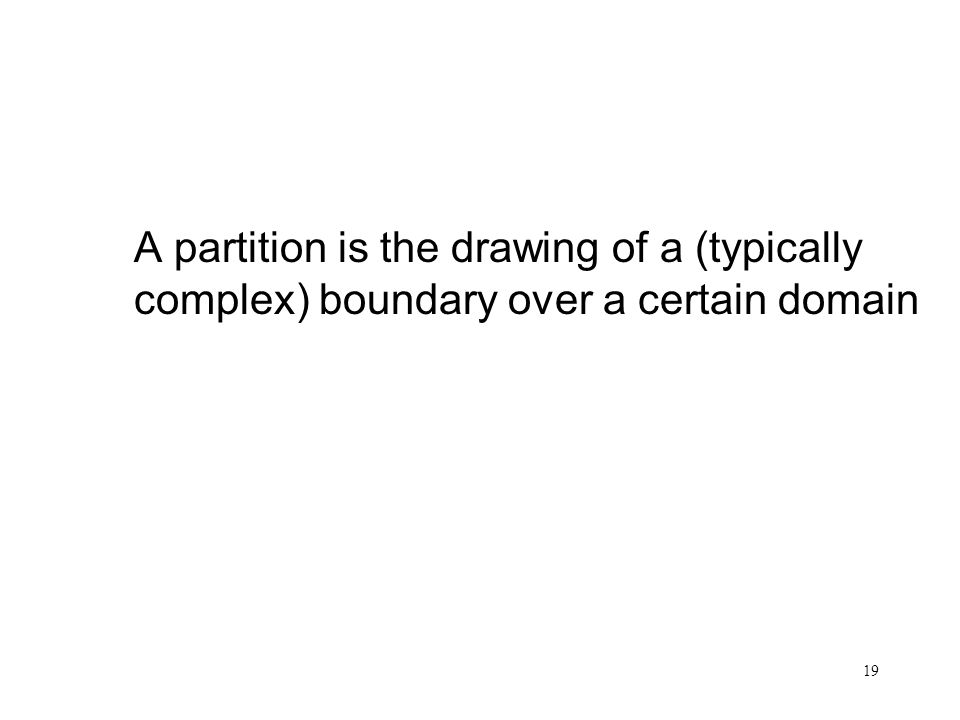 Partition A partition is the drawing of a (typically complex) boundary over a certain domain