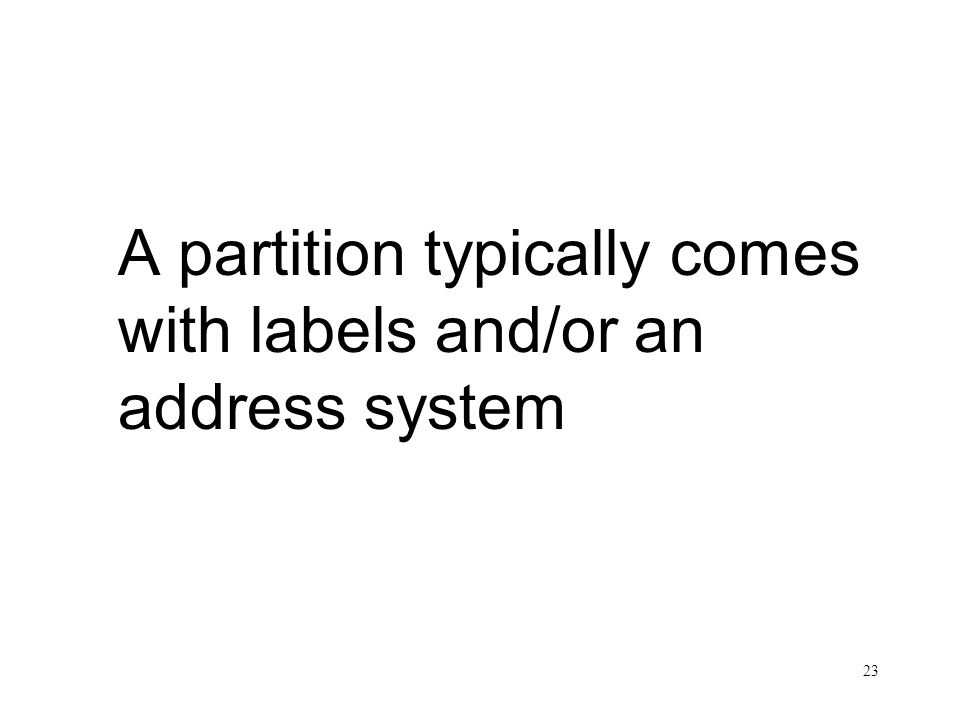 A partition typically comes with labels and/or an address system