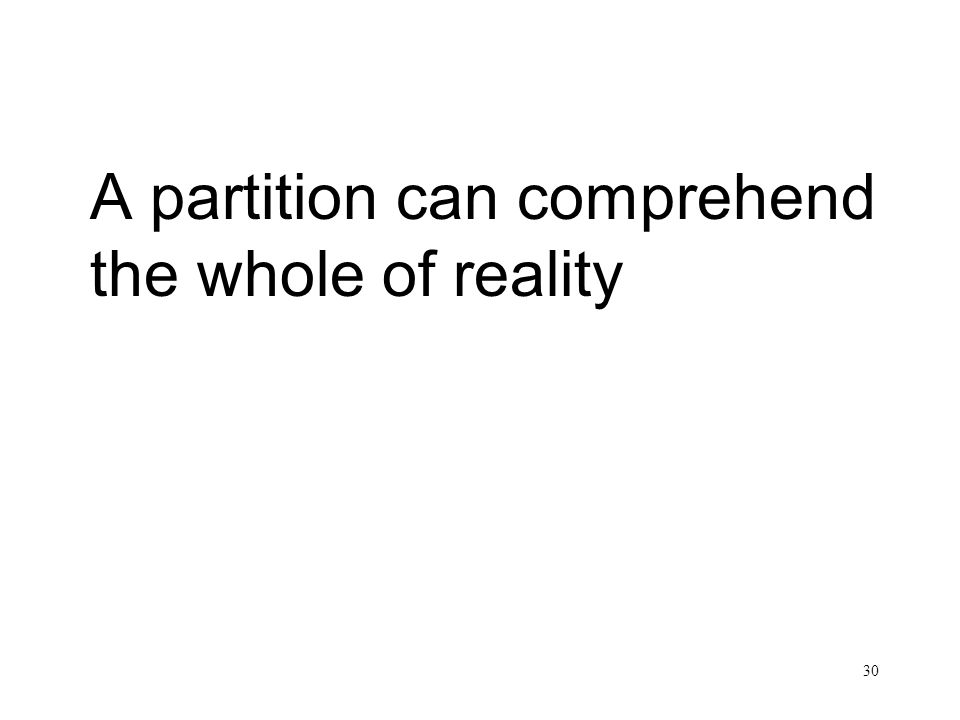 A partition can comprehend the whole of reality