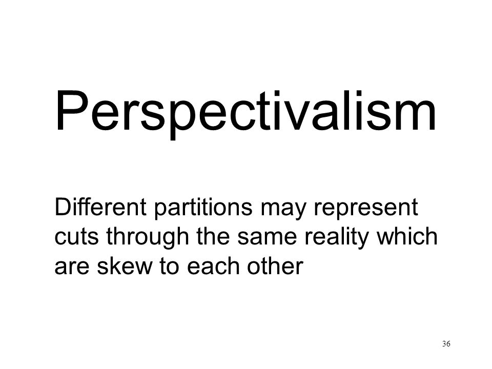 Perspectivalism Different partitions may represent