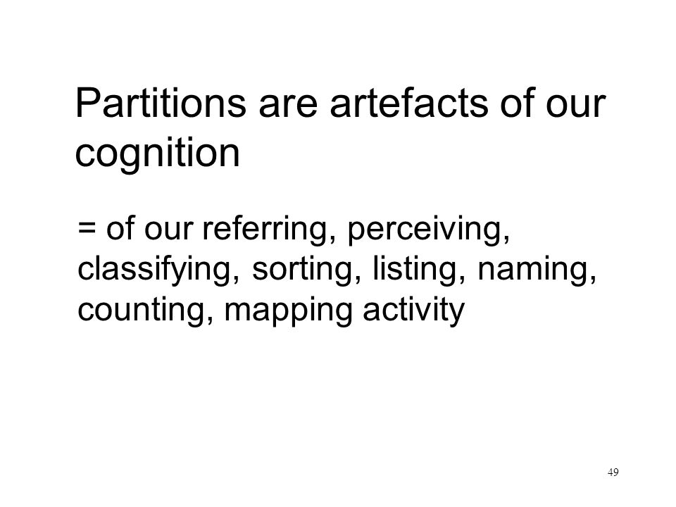 Partitions are artefacts of our cognition