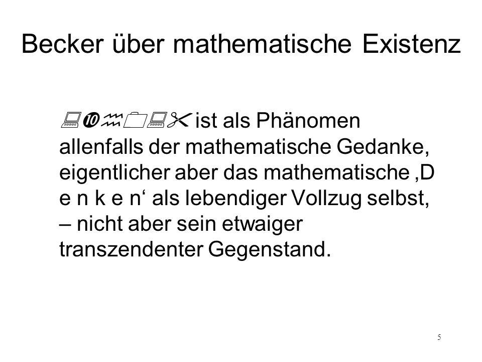 Becker über mathematische Existenz