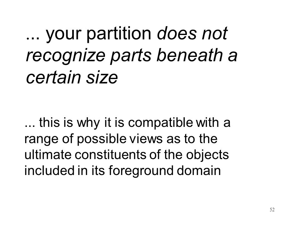 ... your partition does not recognize parts beneath a certain size