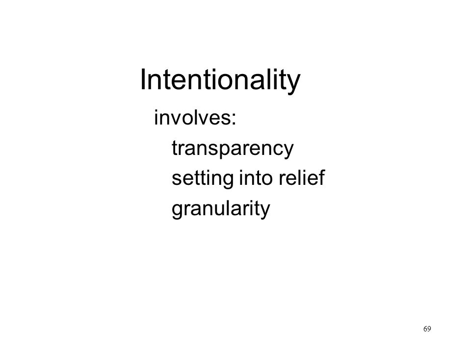 Intentionality involves: transparency setting into relief granularity