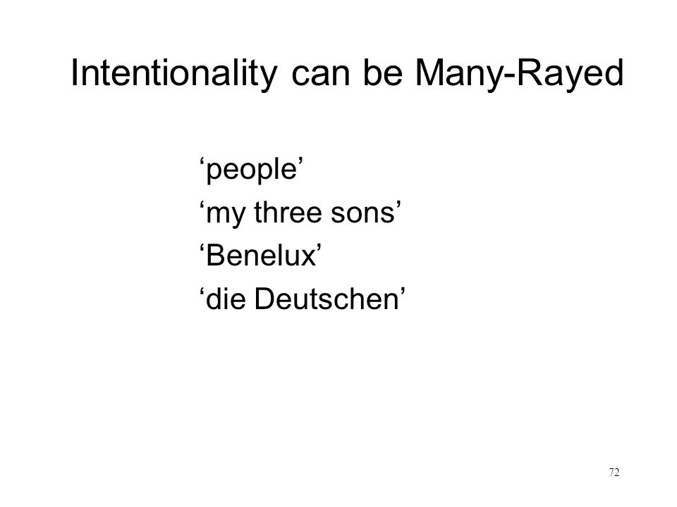 Intentionality can be Many-Rayed