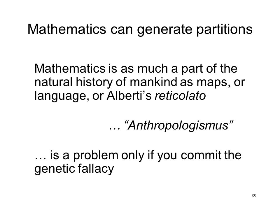 Mathematics can generate partitions