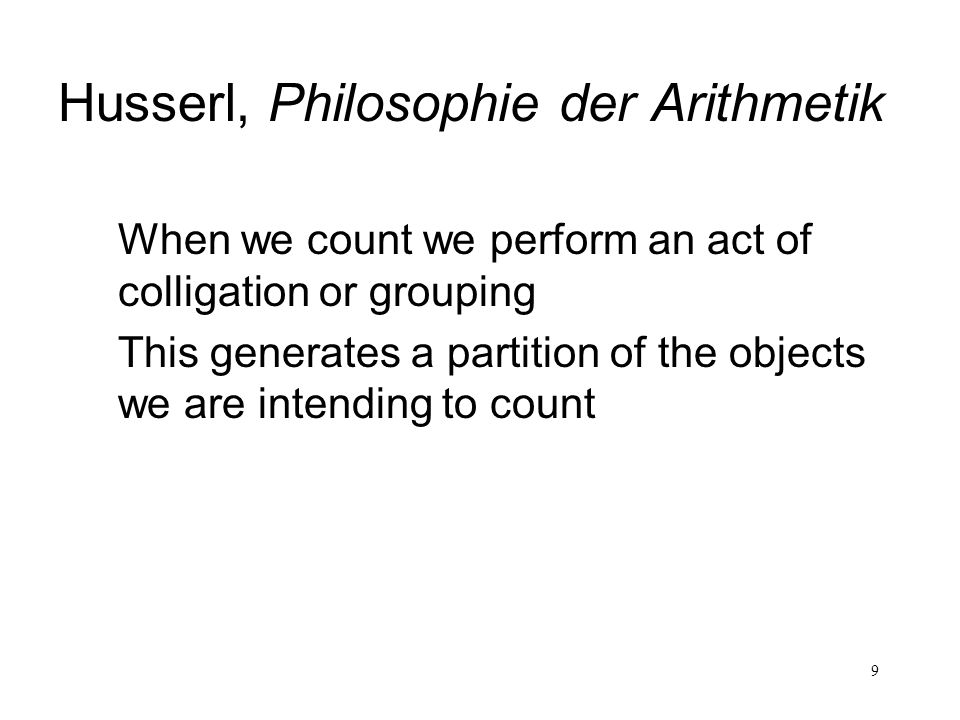 Husserl, Philosophie der Arithmetik