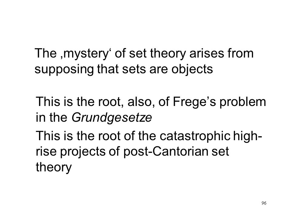 The 'mystery' of set theory arises from supposing that sets are objects