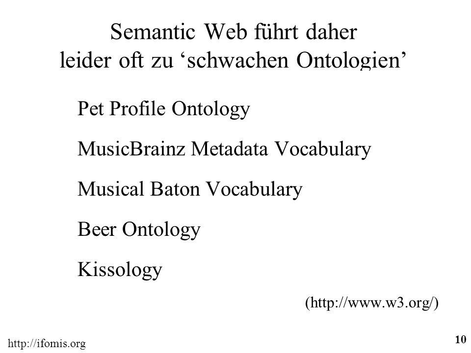 Semantic Web führt daher leider oft zu 'schwachen Ontologien'