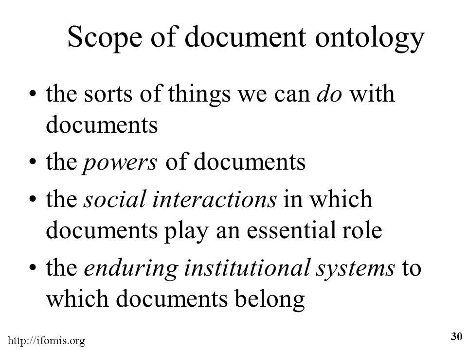 Scope of document ontology