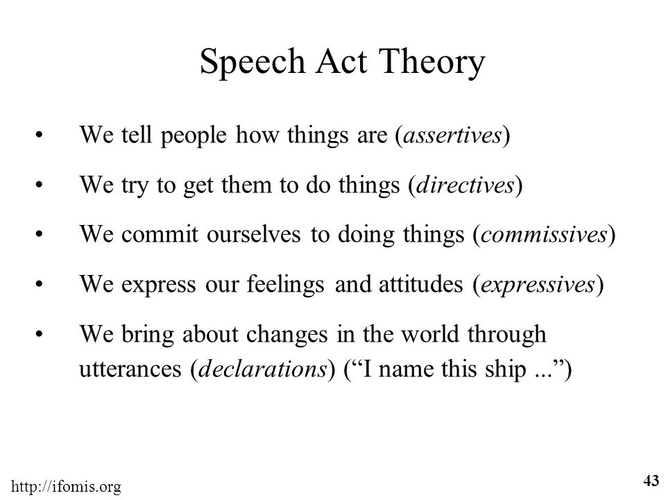 Speech Act Theory We tell people how things are (assertives)