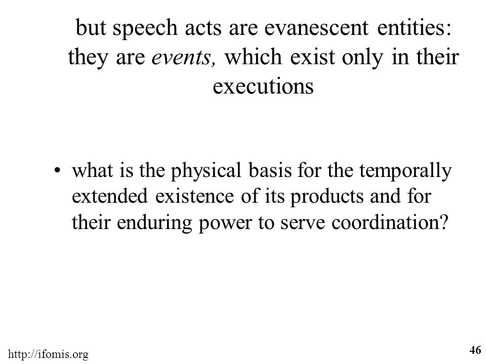 but speech acts are evanescent entities: they are events, which exist only in their executions