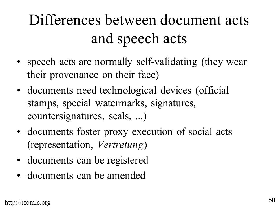 Differences between document acts and speech acts