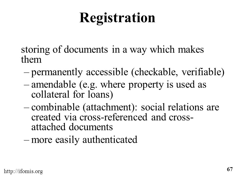 Registration storing of documents in a way which makes them
