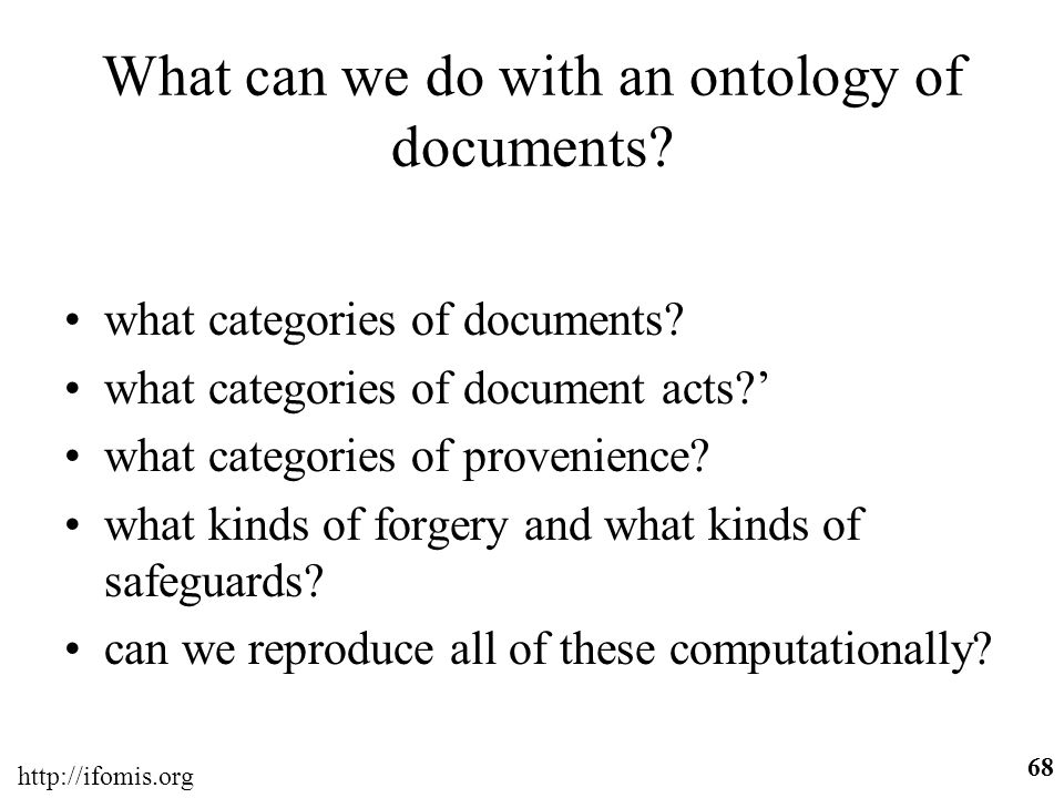 What can we do with an ontology of documents