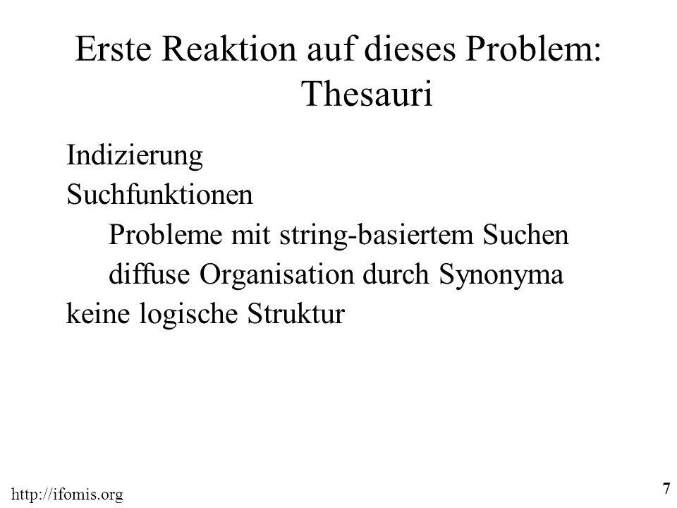 Erste Reaktion auf dieses Problem: Thesauri