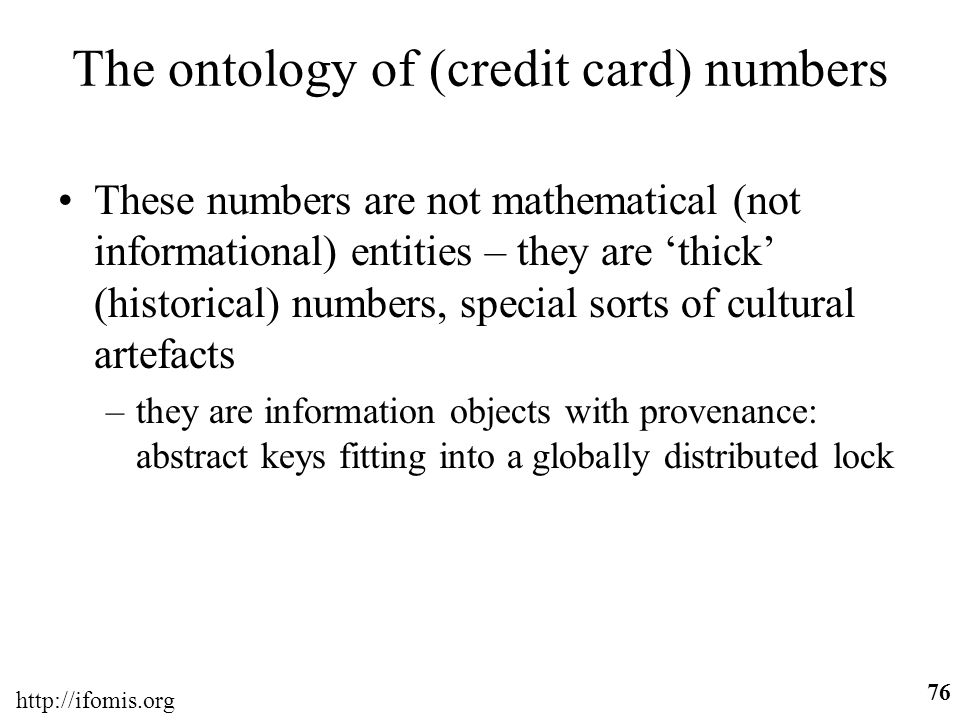 The ontology of (credit card) numbers
