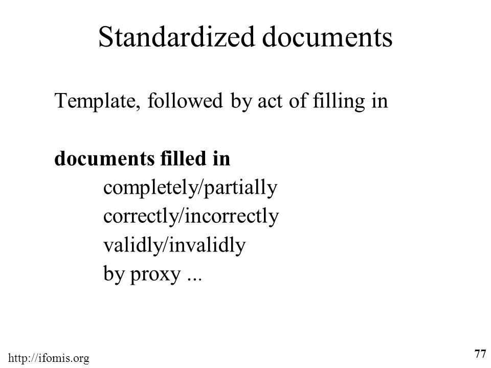 Standardized documents