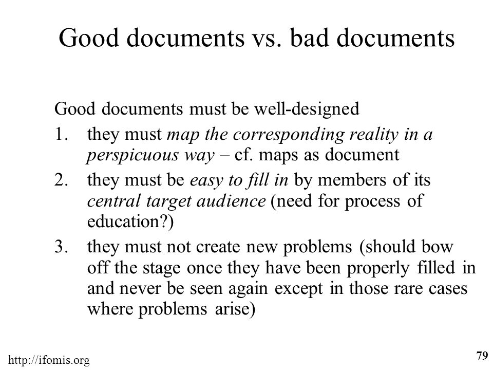 Good documents vs. bad documents