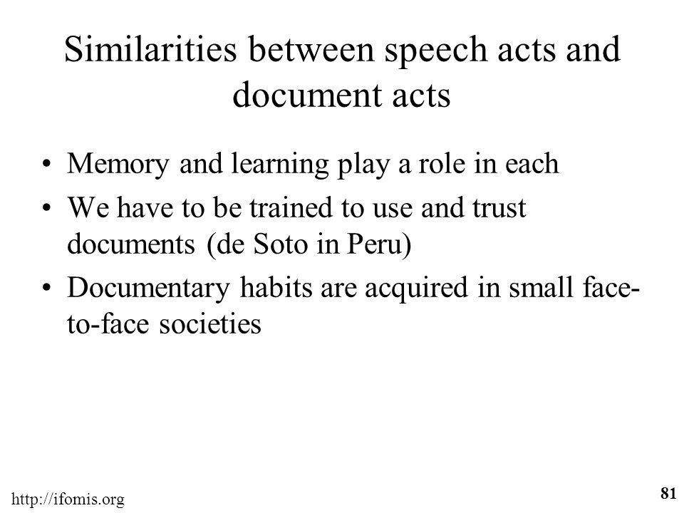 Similarities between speech acts and document acts