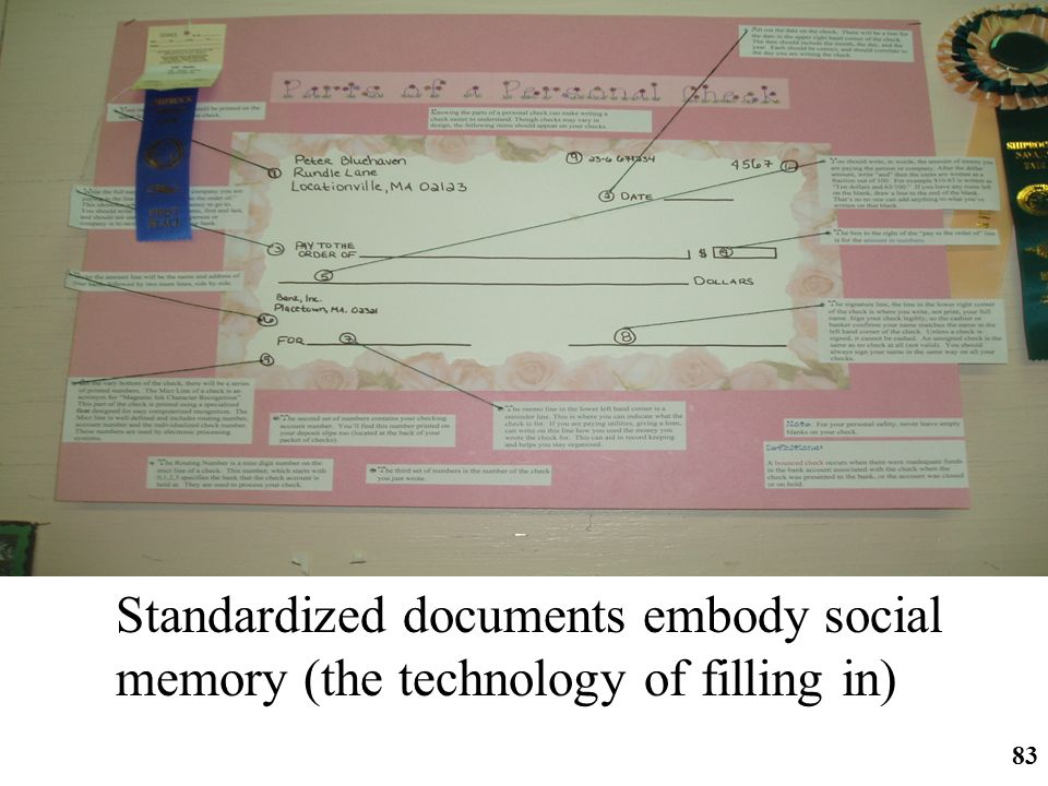 Standardized documents embody social memory (the technology of filling in)