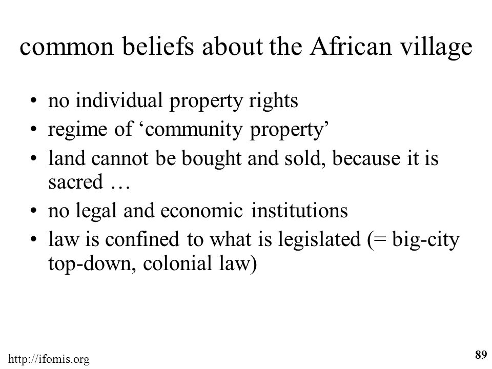 common beliefs about the African village