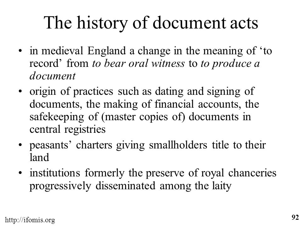 The history of document acts