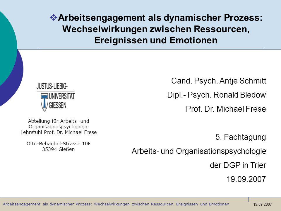 Arbeitsengagement als dynamischer Prozess: Wechselwirkungen zwischen Ressourcen, Ereignissen und Emotionen