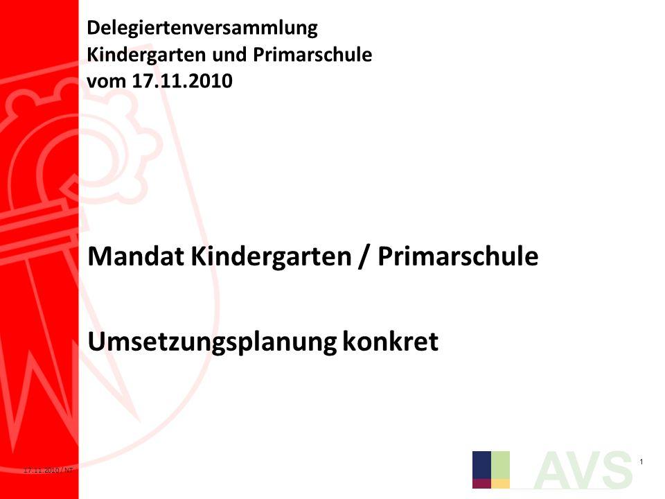 Delegiertenversammlung Kindergarten und Primarschule vom 17.11.2010