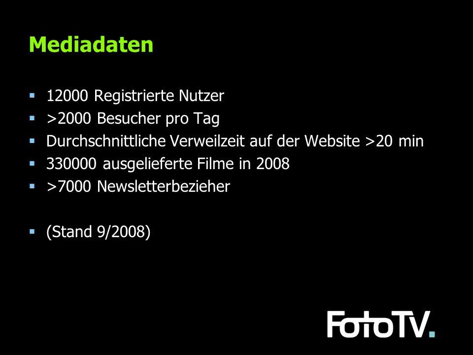 Mediadaten 12000 Registrierte Nutzer >2000 Besucher pro Tag