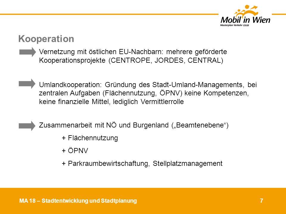Kooperation Vernetzung mit östlichen EU-Nachbarn: mehrere geförderte Kooperationsprojekte (CENTROPE, JORDES, CENTRAL)