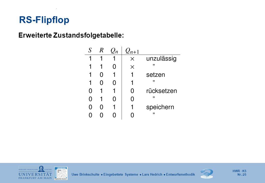 RS-Flipflop Erweiterte Zustandsfolgetabelle: